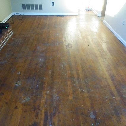 dining room floor after sanding