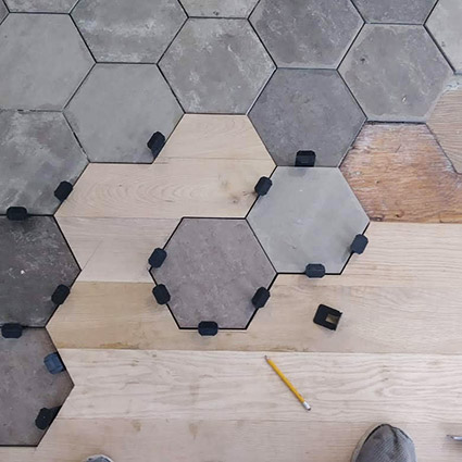 Hexigon floor looking down