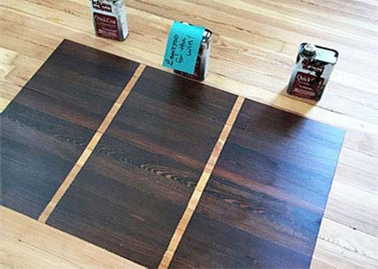 Stain Samples on Hardwood