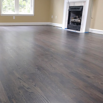 Family room floor after sanding